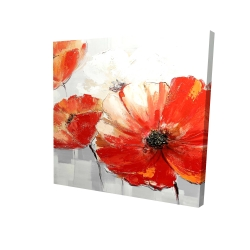 Canvas 24 x 24 - 3D - Abstract red wild flowers