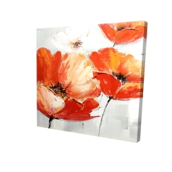 Canvas 24 x 24 - 3D - Red wild flowers in the wind