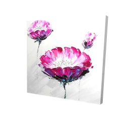 Canvas 24 x 24 - 3D - Pink wild flowers