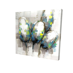 Canvas 24 x 24 - 3D - Abstract blue tulips