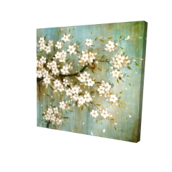 Canvas 24 x 24 - 3D - White cherry blossom