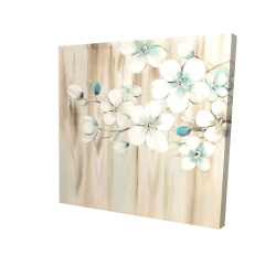 Canvas 24 x 24 - 3D - White flowers on wood
