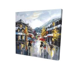 Passants dans la rue par une pluvieuse journée d'automne