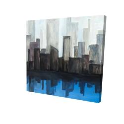 Canvas 24 x 24 - 3D - View of a blue city