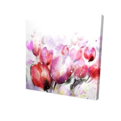 Canvas 24 x 24 - 3D - Abstract blurry tulips