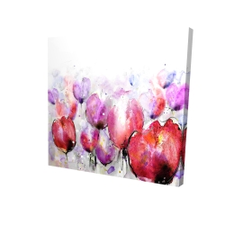 Canvas 24 x 24 - 3D - Pink tulips field