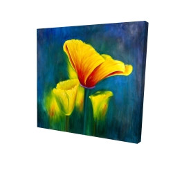 Canvas 24 x 24 - 3D - Beautiful colorful flowers