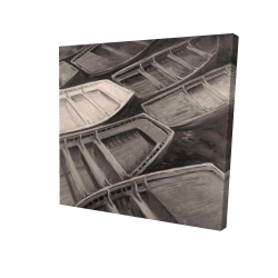 Canvas 24 x 24 - 3D - Small canoes sepia style