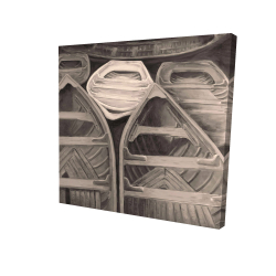 Canvas 24 x 24 - 3D - Sepia canoes