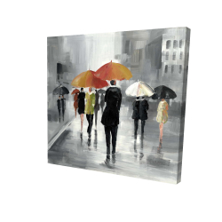 Canvas 36 x 36 - 3D - Street scene with umbrellas