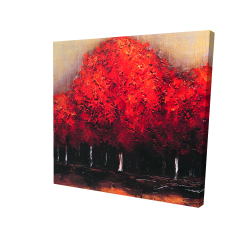 Canvas 24 x 24 - 3D - Red trees by a dark day