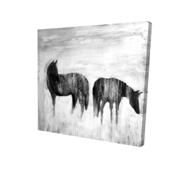 Canvas 24 x 24 - 3D - Horses silhouettes in the mist
