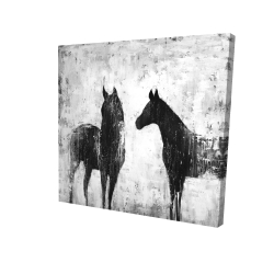 Canvas 24 x 24 - 3D - Black and white horses