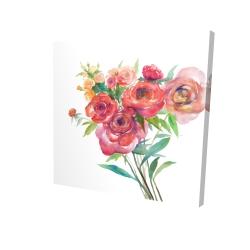 Canvas 24 x 24 - 3D - Watercolor bouquet of flowers