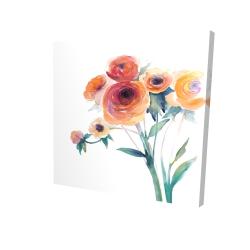 Canvas 24 x 24 - 3D - Watercolor flowers
