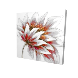 Canvas 24 x 24 - 3D - Red flower with gold center