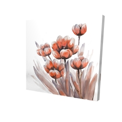 Canvas 24 x 24 - 3D - Watercolor red flowers