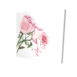 Canvas 24 x 24 - 3D - Watercolor pink roses