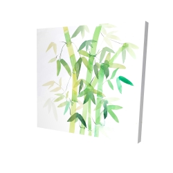 Canvas 24 x 24 - 3D - Watercolor bamboo with leaves