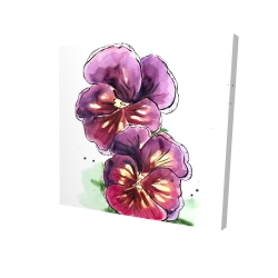 Canvas 24 x 24 - 3D - Two blossoming orchid with wavy petals