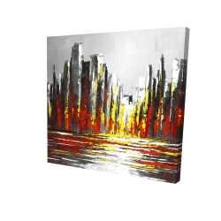 Canvas 24 x 24 - 3D - Abstract red skyline