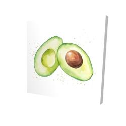 Canvas 24 x 24 - 3D - Watercolor open avocado