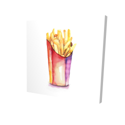 Canvas 24 x 24 - 3D - Watercolor french fries