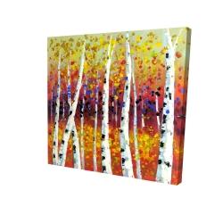 Canvas 24 x 24 - 3D - Colored birches