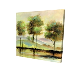 Canvas 24 x 24 - 3D - Trees near the lake