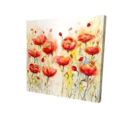 Canvas 24 x 24 - 3D - Red flowers garden