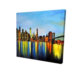 Canvas 24 x 24 - 3D - City by night with a bridge