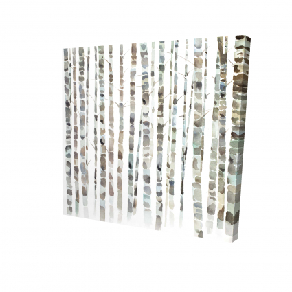 Watercolor birch tree forest