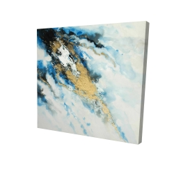 Canvas 24 x 24 - 3D - Blue and gold marble