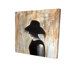 Canvas 24 x 24 - 3D - Audrey hepburn with a big hat