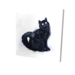 Canvas 24 x 24 - 3D - Furry black watercolor cat