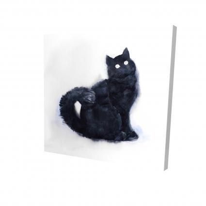 Furry black watercolor cat