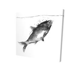 Canvas 24 x 24 - 3D - Happy swimming fish