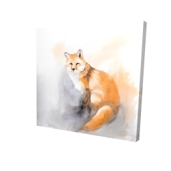 Canvas 24 x 24 - 3D - Watercolor fox