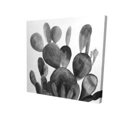 Canvas 24 x 24 - 3D - Grayscale paddle cactus plant
