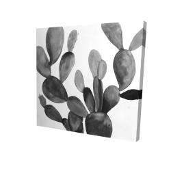Canvas 24 x 24 - 3D - Grayscale cactus