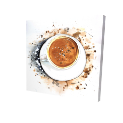 Canvas 24 x 24 - 3D - Overhead view of a cappuccino cup