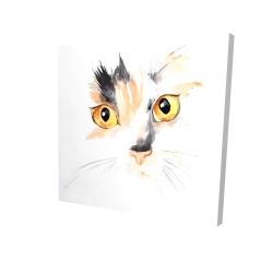 Canvas 24 x 24 - 3D - Watercolor cat face closeup