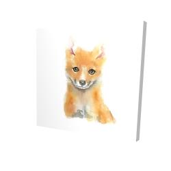 Canvas 24 x 24 - 3D - Watercolor baby fox