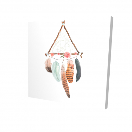 Triangular dream catcher with roses and feathers
