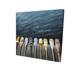 Canvas 24 x 24 - 3D - Colorful paddles on the dock