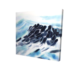 Canvas 24 x 24 - 3D - Sea waves with paint splash