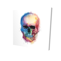 Canvas 24 x 24 - 3D - Watercolor colorful skull