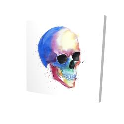 Watercolor colorful skull profile