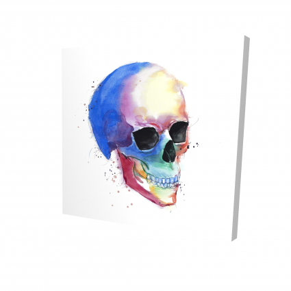 Watercolor colorful skull profile