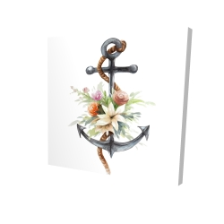 Canvas 24 x 24 - 3D - Anchor with flowers